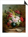 Still Life with Flowers and Sheet Music Posters by Emile Henri Brunner-lacoste