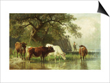 Cattle Watering in a River Landscape, 19th Century Kunst von Friedrich Voltz
