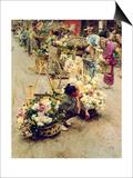 The Flower Market, Tokyo, 1892 Print by Robert Blum