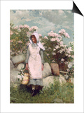 Girl and Laurel, 1879 Prints by Winslow Homer