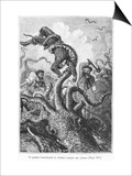 "The Octopus Attacking the Nautilus, Illustration from ""20,000 Leagues under the Sea"" Prints by Alphonse Marie de Neuville"