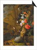 Peonies, Roses, Lilies, Poppies and Other Flowers Print by Rachel Ruysch