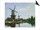 Dutch Windmills, 1884 Prints by Eugène Boudin