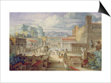 A Scene in Ancient Rome, a Setting for Titus Andronicus, Act I, Scene 3, C.1830 Print by Joseph Michael Gandy