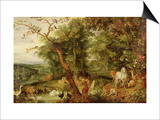 The Garden of Eden, in the Background the Temptation Prints by Jan Brueghel the Elder