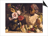 Negress with Peonies, 1870 Posters by Frederic Bazille