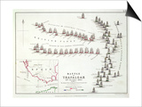 The Battle of Trafalgar, 21st October 1805, the British Breaking the French and Spanish Line Prints by Alexander Keith Johnston