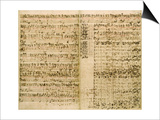 Pages from Score of the 'The Art of the Fugue', 1740S Print by Johann Sebastian Bach