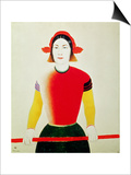 Girl with a Pole (Oil) Prints by Kasimir Malevich