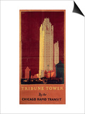 Tribune Tower, Published by Chicago Rapid Transit Company, Usa, 1925 (Colour Litho) Prints by Norman Erickson