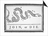 Join, or Die (Litho) Art by Benjamin Franklin
