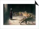 Daniel in the Lions Den, Mezzotint by J. B. Pratt, with Hand Colouring Kunstdruck von Briton Rivière