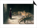 Daniel in the Lions Den, Mezzotint by J. B. Pratt, with Hand Colouring Print by Briton Rivière