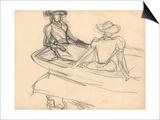 Young Girls on a Boat (Pencil on Paper) Prints by Claude Monet