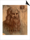 "Portrait of Leonardo Da Vinci (With His ""Vitruvian Man"") Posters"
