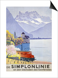 Die Simplonlinie an Den Gestaden Des Genfersees', Poster Advertising Rail Travel around Lake Geneva Poster av Emil Cardinaux