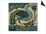 Tile Design of Heron and Fish, by Walter Crane Art by Walter Crane