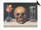 Vanitas Still Life with a Tulip, Skull and Hour-Glass Poster by Philippe De Champaigne