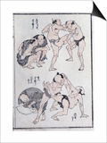 Studies of Gestures and Postures of Wrestlers, from a Manga (Colour Woodblock Print) Prints by Katsushika Hokusai