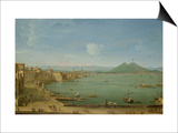 View of Naples from the Bay with Mt. Vesuvius Plakater af Antonio Joli
