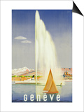 Advertisement for Travel to Geneva, C.1937 (Colour Litho) Prints by  Fehr