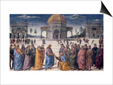 Giving of the Keys to St. Peter, from the Sistine Chapel, 1481 (Fresco) Posters by Pietro Perugino