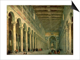 Interior of the Church of San Paolo Fuori Le Mura, Rome, 1750 Posters par Giovanni Paolo Pannini