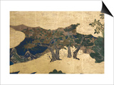 Detail of Spring in the Palace, Six-Fold Screen from 'The Tale of Genji', C.1650 Posters by  Japanese