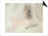 Seated Nude with Dishevelled Hair (W/C on Paper) Poster by Auguste Rodin