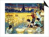 Loy Krathong Festival in Bangkok Print by  Mcbride