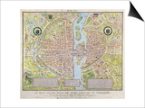 Plan de La Tapisserie, Map of Paris, Originally a Tapestry Made in circa 1570, 1818 Prints by Caroline Naudet