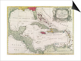 New and Accurate Map of the West Indies (Colour Litho) Prints by  American