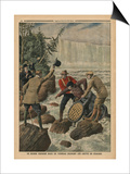 A Man in a Barrel Crossing the Niagara Falls Prints by  French School