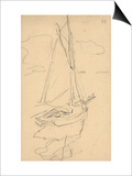 Small Yacht on the Norman Coast (Pencil on Paper) Posters by Claude Monet