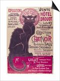 Plakat som reklamerer for en utstilling av Du Chat Noir-cabaret på Hotel Drouot, Paris Plakat av Théophile Alexandre Steinlen