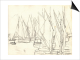 In the Port at Honfleur (Pencil on Paper) Poster by Claude Monet