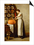 Cutting the Pumpkin, 1910 Print by Franck-Antoine Bail