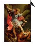 The Archangel Michael Defeating Satan Kunstdrucke von Guido Reni