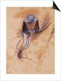 Jockey Flexed Forward Standing in the Saddle, 1860-90 Print by Edgar Degas