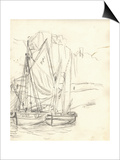 Boats in the Port at Honfleur (Pencil on Paper) Poster by Claude Monet