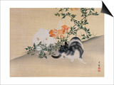 Two Cats, Illustration from 'The Kokka' Magazine, 1898-99 Prints by  Japanese School