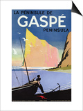 Poster Advertising the Gaspe Peninsula, Quebec, Canada, C.1938 (Colour Litho) Affiche par  Canadian