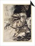 Siegfried kills Fafner, illustration from 'Siegfried and the Twilight of the Gods', 1924 Prints by Arthur Rackham