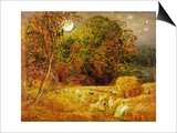 The Harvest Moon, 1833 (Oil on Paper Laid on Panel) Print by Samuel Palmer