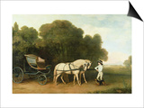 A Phaeton with a Pair of Cream Ponies in the Charge of a Stable-Lad, C.1780-5 (Oil on Panel) Art by George Stubbs
