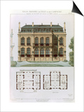 Parisian Suburban House and Plans Prints by Leon Isabey