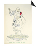 Gabriele D'Annunzio (1863-1938) Dancing with a Woman Above a Plate of Maccheroni (Colour Litho) Poster by  Sem