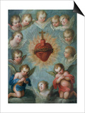 Sacred Heart of Jesus Surrounded by Angels, c.1775 Posters by Jose de or Joseph Paez