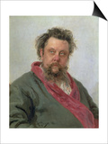 Portrait of Modest Petrovich Moussorgsky (1839-81) 1881 Prints by Ilya Efimovich Repin