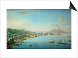Naples from the Bay, with Mt. Vesuvius in the Background Prints by Antonio Joli